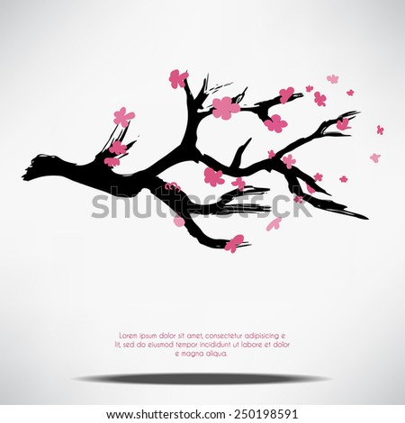 Vector paint branch of the japan blossoming cherry Sakura. Perfect for the wedding cards, invitations cards, deco, wallpaper, packages.  - stock vector