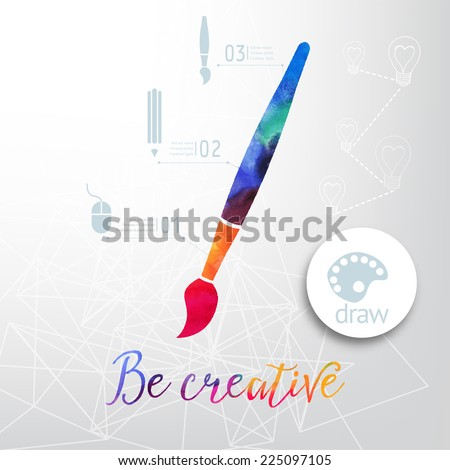 Vector paint brush silhouette made of watercolor, creative icons, watercolor creative concept. Vector concept - creativity and draw. Lettering. quote. Creative artist's tool. Paint brush icon vector - stock vector