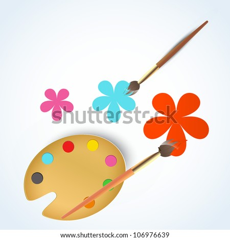 vector paint brush with drawn flower - stock vector