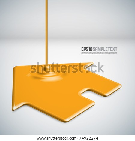 Vector Paint Dripping a House - stock vector
