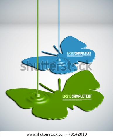 Vector Paint Dripping Butterflies - stock vector