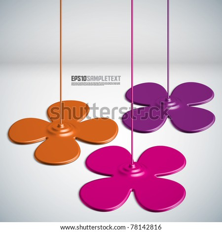 Vector Paint Dripping Flowers - stock vector