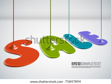 Vector Paint Dripping - Sale - stock vector