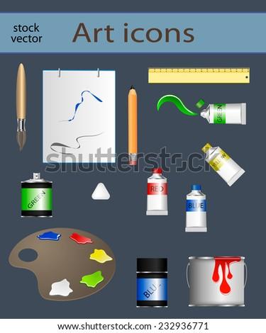 Vector paint icon set - stock vector