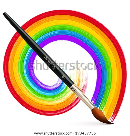 Vector paintbrush with acrylic painted rainbow - stock vector
