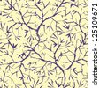 vector painted tree brunches seamless pattern background with hand drawn elements - stock vector
