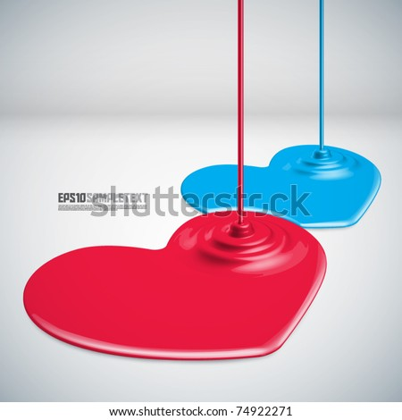Vector Paints Dripping Hearts - stock vector
