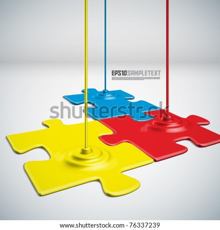 Vector Paints Dripping Puzzles - stock vector