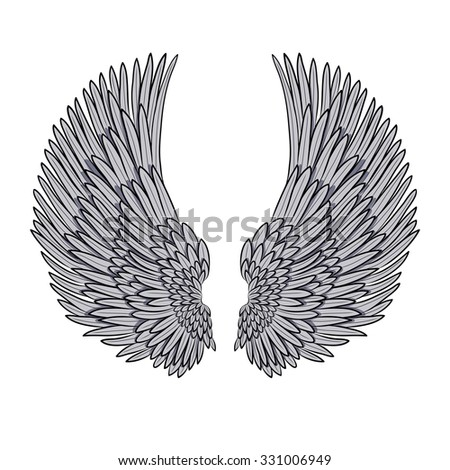 vector pair of angel wings isolated on white. EPS - stock vector