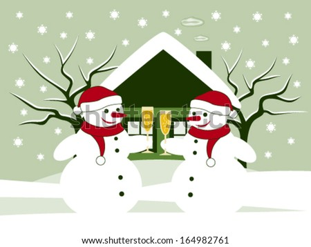 vector pair of snowmen with glasses of champagne in snowy garden - stock vector