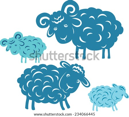 Vector pair. Silhouette of a ram and sheep. - stock vector
