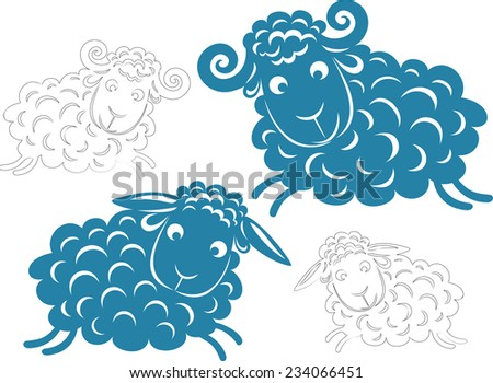 Vector pair. Silhouette of running sheep and sheep. Provided linear version - stock vector