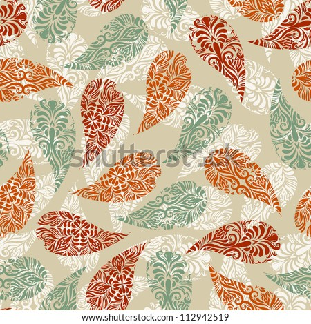 vector paisley vintage seamless floral pattern, fully editable eps 8 file with clipping mask