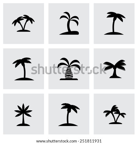 Vector palm icon set on grey background - stock vector