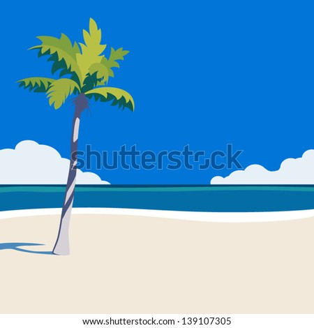 Vector palm on beach