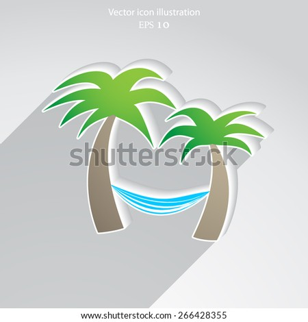 Vector palm trees with hammock flat icon illustration. - stock vector