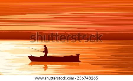 Vector panorama illustration of fisherman in boat at sunset (orange tone). - stock vector