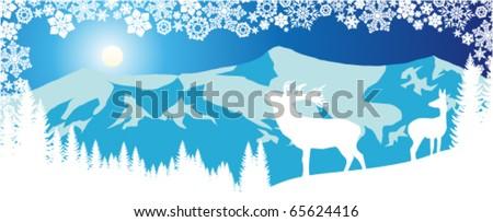 vector panorama of deers in mountains - stock vector