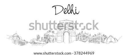 vector panoramic hand drawing sketch illustration of DELHI city - stock vector