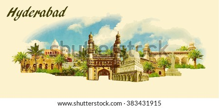 vector panoramic water color  illustration of HYDERABAD city - stock vector