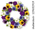 vector - Pansy Wreath. Spring Viola flowers in purple, lavender, blue, gold and white. Copy space. Isolated on white background. EPS8 compatible. - stock vector