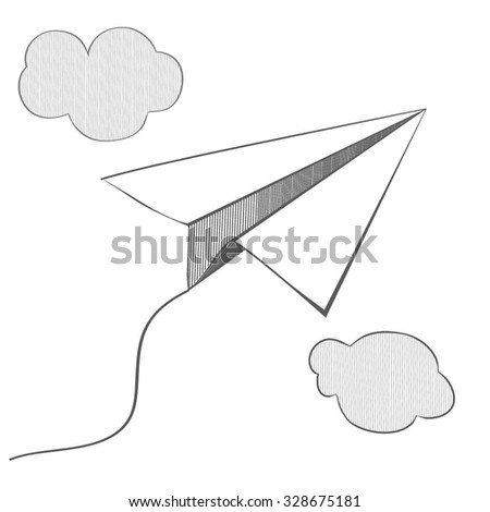 vector paper airplane on a white background. linear design. airplane hovers in the clouds. hatching. graphic image. pencil drawing. plane on a string. Origami with their hands. - stock vector