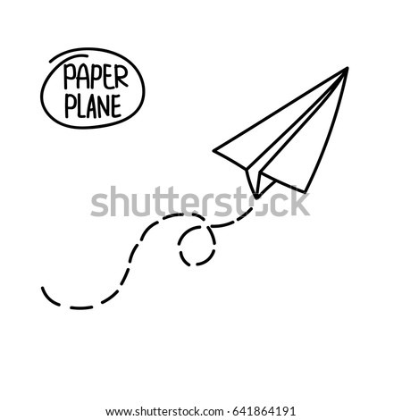 vector paper airplane travel route symbol stock vector 641864191 rh shutterstock com paper airplane cartoon cute Cartoon Throwing Paper Airplane