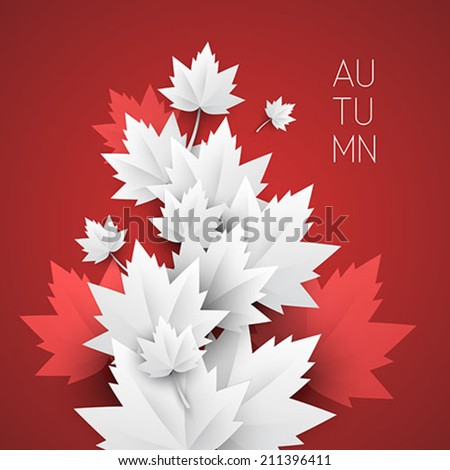 vector paper autumn leaves - vector background