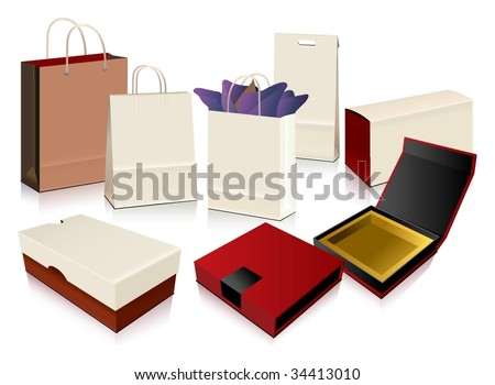 Vector Paper Bag and Boxes - stock vector