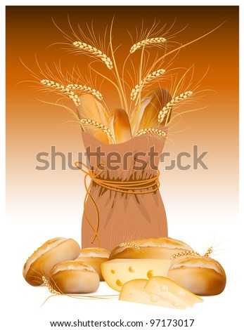 Vector paper bag with bread and wheat - stock vector