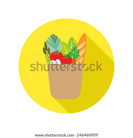 vector paper bag with food icon - stock vector
