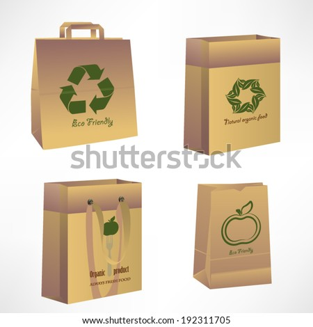 Vector paper bags, recycle concept - stock vector