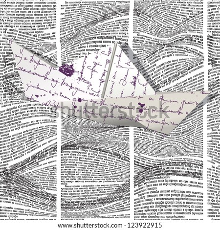 Vector paper boat floating on seamless pattern with waves of newspaper columns. Text in newspaper page unreadable. - stock vector