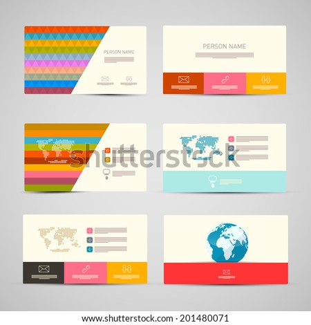 Vector Paper Business Cards Template Set on Grey Background