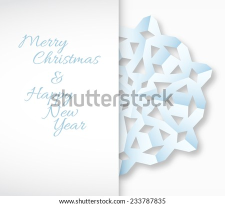 Vector paper christmas snowflake on a white background - stock vector