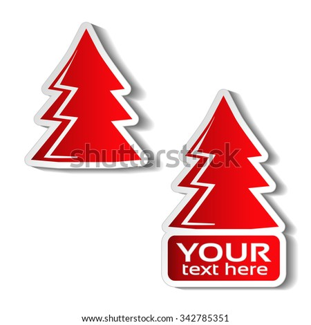 Vector paper Christmas tree, red sticker on the white background. Winter sale label for your text, Christmas offer - stock vector