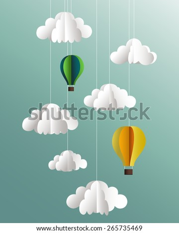 Vector paper clouds and balloons - stock vector