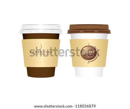 Vector 2 paper coffee cups - stock vector