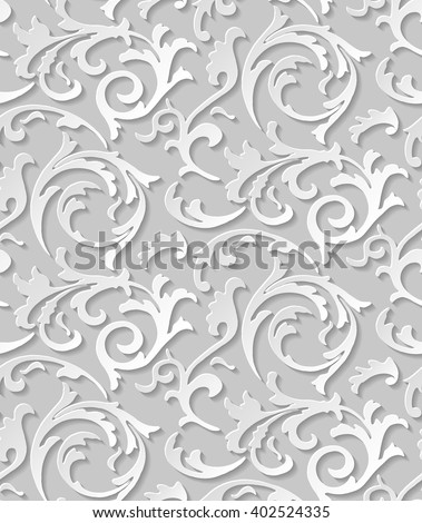 Vector paper cut baroque seamless damask light elegant texture. Luxury floral swirl white pattern element with shadow for wrapping paper, fabric, page fill, background or wallpaper, seamless page fill - stock vector