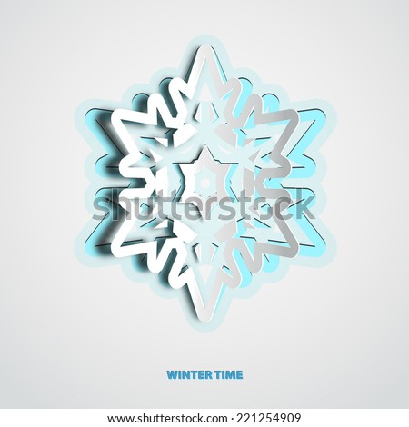 Vector paper cut christmas snowflake on a white background - stock vector