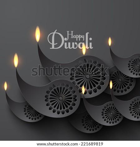 Vector Paper Diwali Diya (Oil Lamp). - stock vector