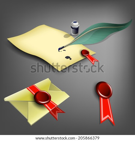 Vector paper, feather, inkwell, mail and wax seal. - stock vector