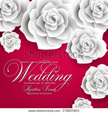 Vector paper flower origami rose wedding stock vector 378805801 vector paper flower origami rose wedding invitation floral template mightylinksfo