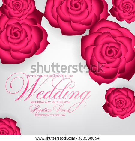 Vector paper flower origami rose wedding stock vector 383538064 vector paper flower origami rose wedding invitation floral template mightylinksfo