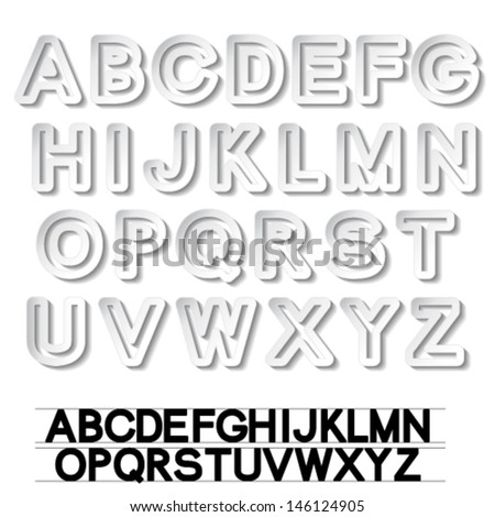 Vector paper font alphabet - white stickers