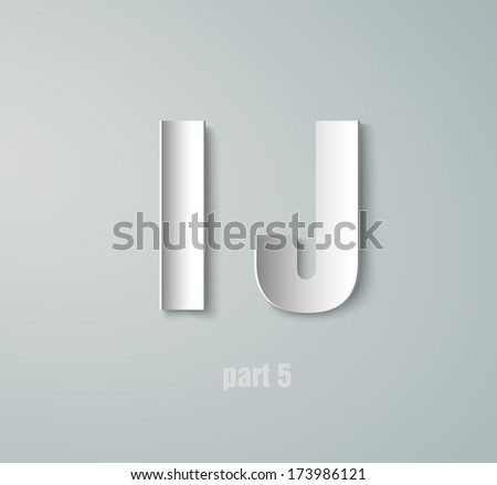 Vector Paper Graphic Alphabet I J - stock vector