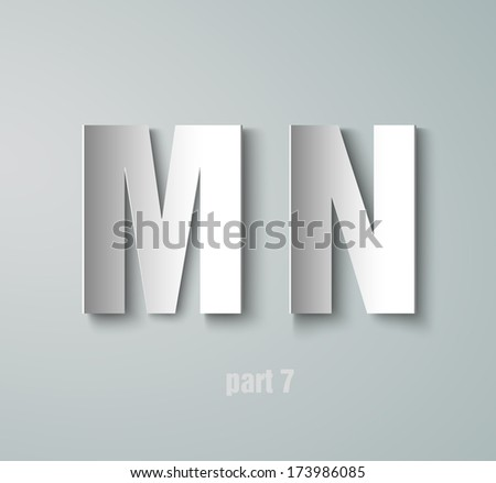Vector Paper Graphic Alphabet M N - stock vector