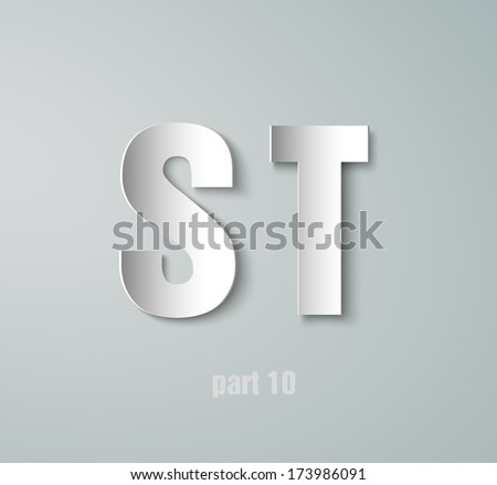Vector Paper Graphic Alphabet S T - stock vector