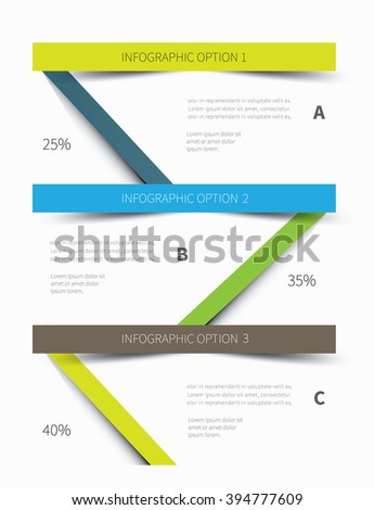 vector paper graphic for business info presentation / 3 level infographic cut paper - stock vector