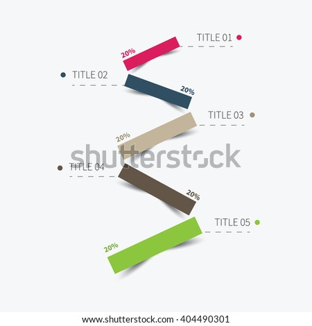 vector paper graphic for business steps summary / 5 level infographic cut paper lines - stock vector